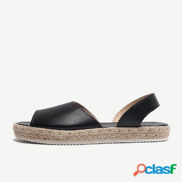 Zapatos de mujer cuñas plataforma de gran tamaño hebilla de hierba con cáñamo cuerda boca de pez con fondo de burbuja ligera sandalias mujer
