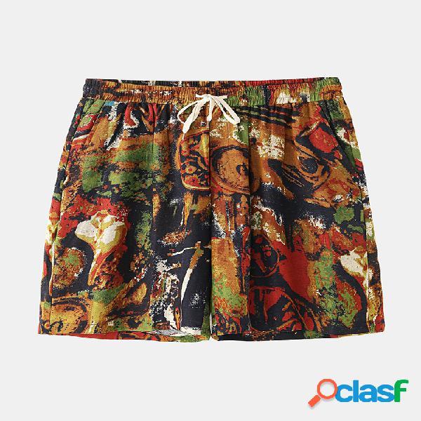 Pantalones cortos sueltos casuales de cintura elástica con estampado de algodón para hombre