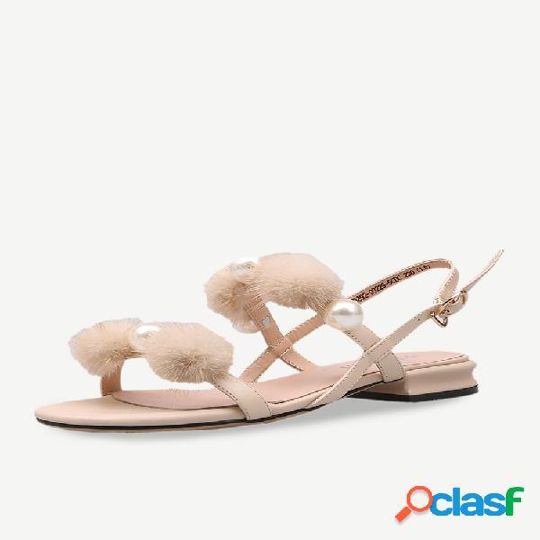 Zapatos de tacón bajo sandalias para mujer new wild cabello ball con falda zapatos fairy season grueso con una palabra con sandalias women