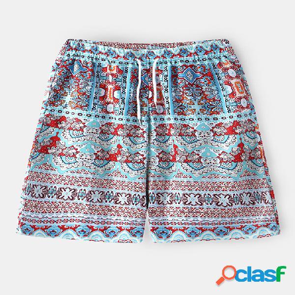 Pantalones cortos sueltos con estampado floral étnico tropical para hombre