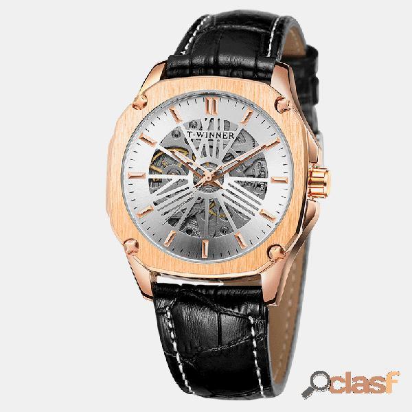 Reloj deportivo de estilo deportivo para hombres, cuero negro, banda, esfera hueca, reloj automático completo mecánico
