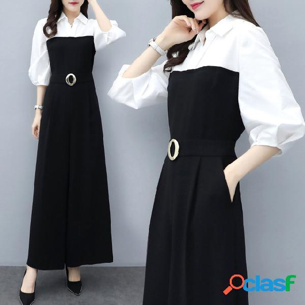 Season new cintura alta gasa pantalones delgados slim jumpsuit negro temperamento de pierna ancha jumpsuit suit female