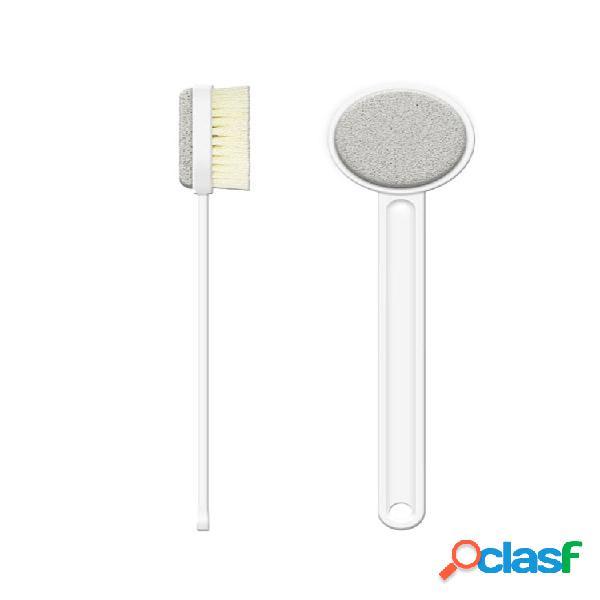 Baño de doble cara cepillo agradable para la piel soft exfoliación de cerdas cuerpo de madera limpieza de ducha cepillo