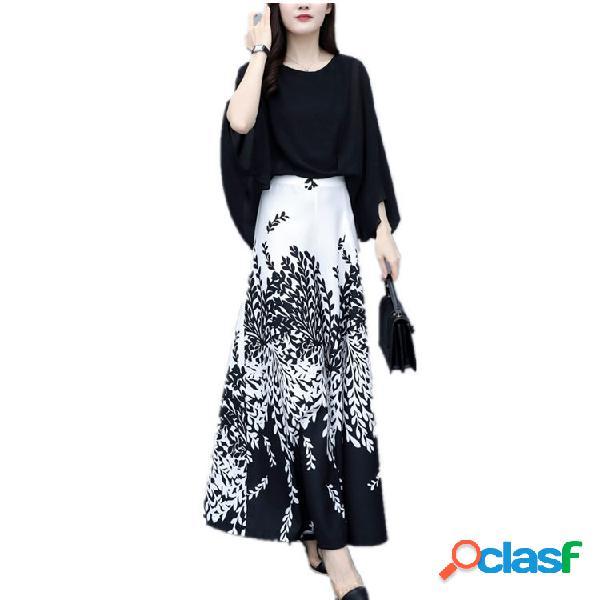 Versión de dos piezas de the foreign casual adelgazamiento temperamento de cintura alta de pierna ancha pantalones traje mujer