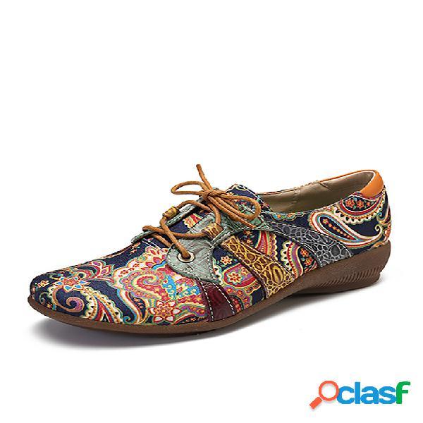 Socofy paisley textile splicing folkways style cloth zapatos planos con cordones y punta redonda