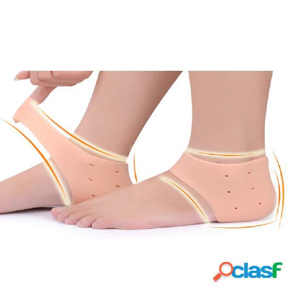 Hombres mujer sílice gel protector de talón buen elástico transpirable eliminador de dolor de talón cuidado completo de los pies