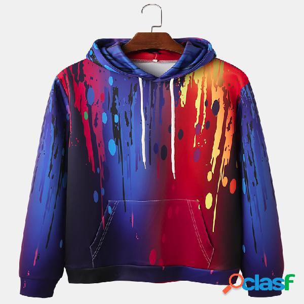 Mens ombre colorful impresión de tinta casual kangaroo pocket drawstring hoodies
