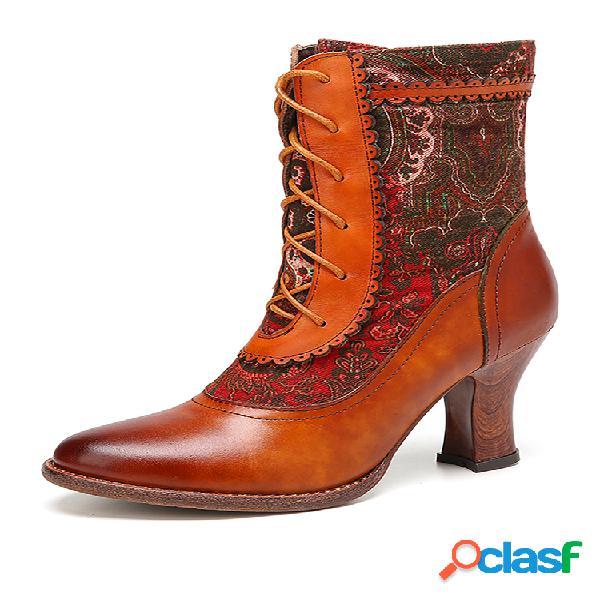 Socofy elegante patrón empalme de color sólido piel genuina corto con tacón de aguja en punta botas