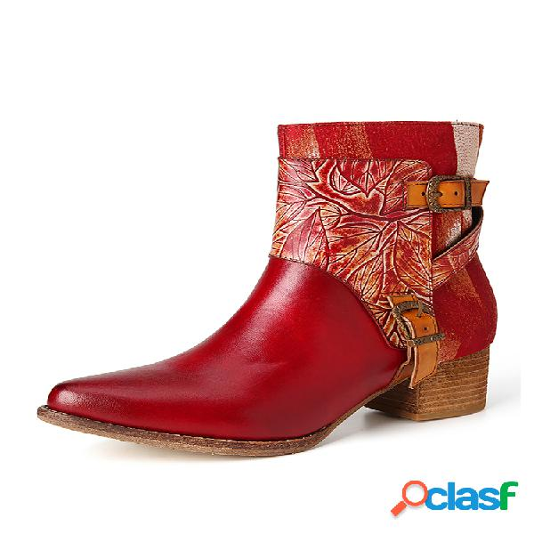 Socofy hoja en relieve piel genuina puntera en punta de color sólido elegante tacón grueso corto botas