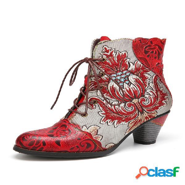 Socofy grabado retro piel genuina corto de tacón grueso con empalme bordado de flores botas