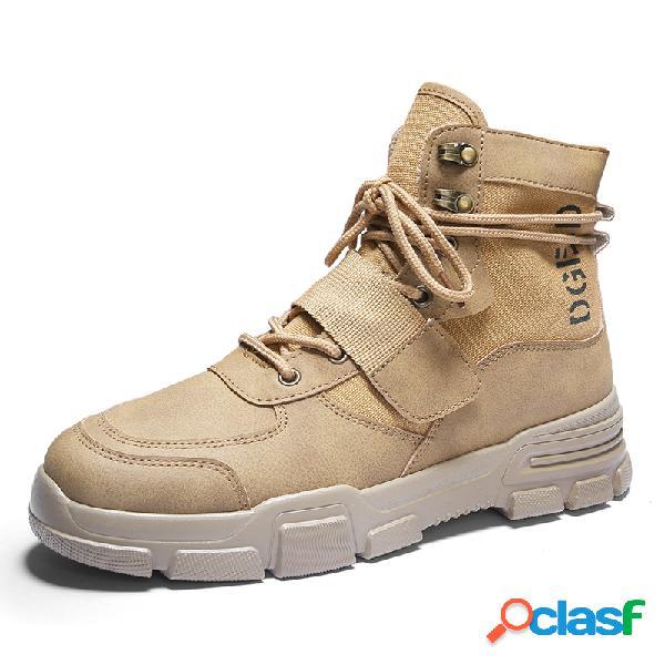 Zapatos de empalme de tela de cuero de microfibra para hombre, estilo de trabajo, tobillo botas