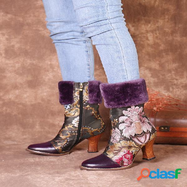 Socofy bordado de flores piel genuina forro cálido empalme corto de tacón bajo botas