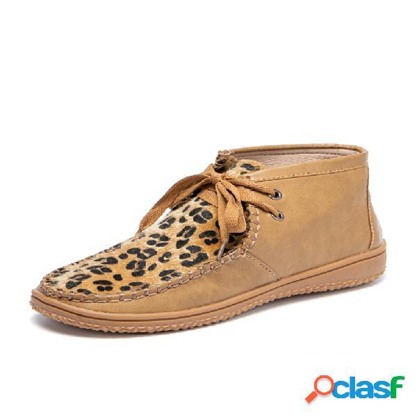 Tamaño grande mujer vamp con estampado de leopardo cordones cosidos a mano botas