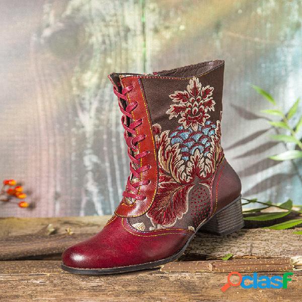 Socofy bordado retro de flores piel genuina corto de tacón grueso informal y cómodo de empalme botas