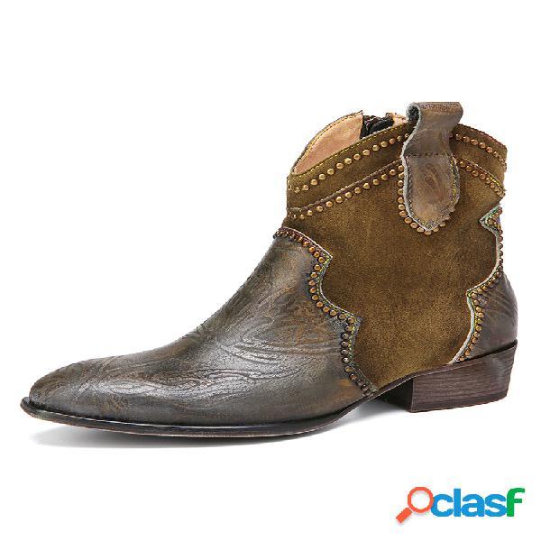 Socofy retro en relieve piel genuina corto vaquero cómodo de tacón cuadrado con empalme botas