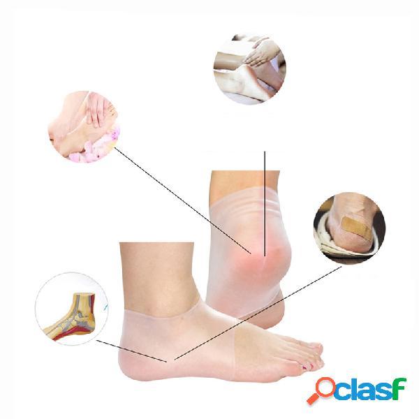 1 par protector de talón de silicona manga talón pie aliviar el dolor agrietado anti-cracking calcetín cuidado de los pies