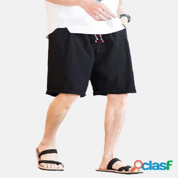 Pantalones cortos sueltos de lino casual con cordón de color sólido para hombre