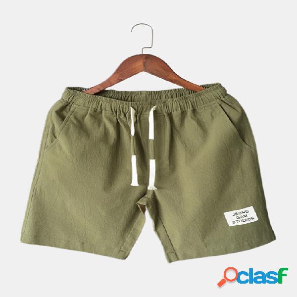 Pantalones cortos con cordón para hombre pantalones cortos casuales sueltos de algodón con bolsillo de color sólido