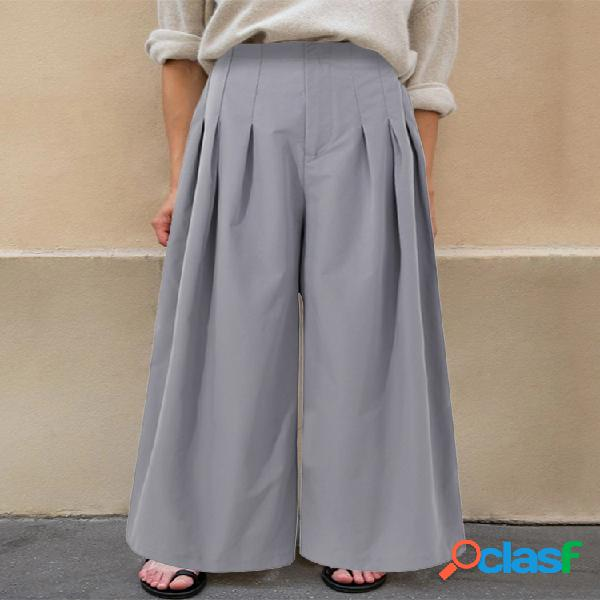 Bolsillos laterales con cremallera frontal y pierna ancha de cintura alta plisados pantalones