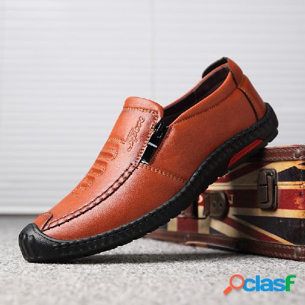 Zapatos casuales antideslizantes con costuras de cuero de microfibra para hombres