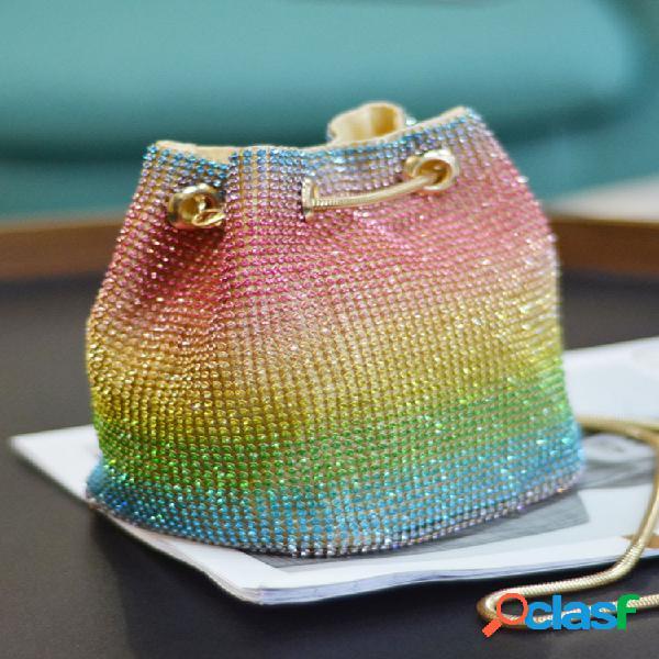Mujer cucharón ombre de diamantes de imitación de arco iris bolsa bolso crossbody bolsa