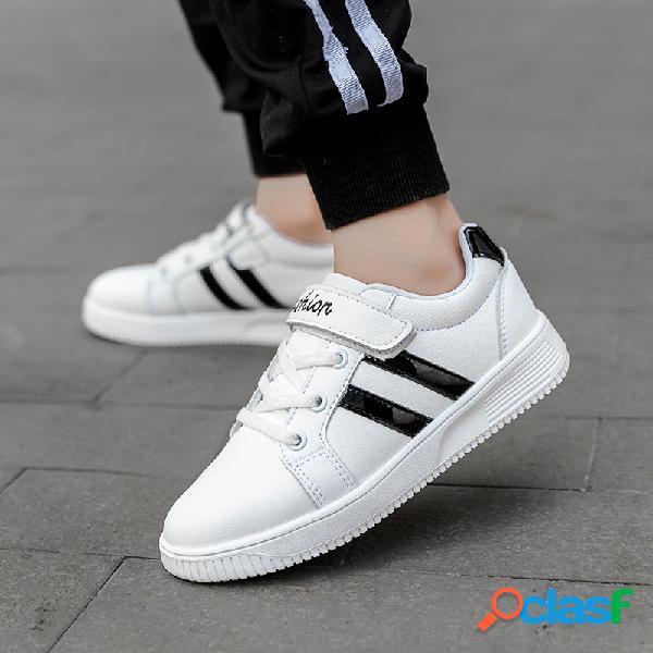 Hobibear unisex niños cuero de microfibra antideslizante casual classic zapatillas de deporte blancas a rayas