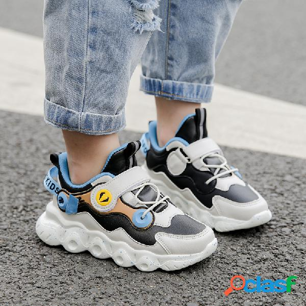 Hobibear zapatillas de deporte gruesas ocasionales antideslizantes de cuero de microfibra para niños