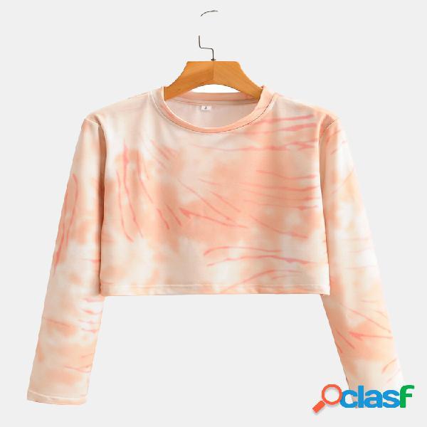 Suéter con cuello redondo y manga larga con estampado ombre tie dye
