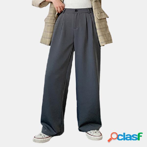 Verano pierna ancha cremallera frontal cintura alta casual delgada pantalones
