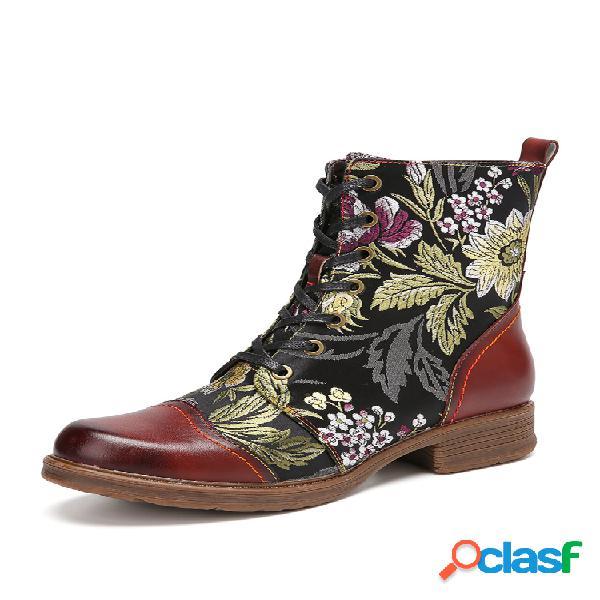 Socofy elegante bordado de flores piel genuina corto cómodo con cremallera lateral con cordones botas