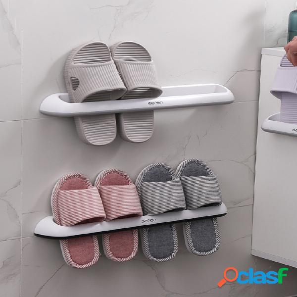 Baño zapatillas rack estante de plástico para almacenamiento de zapatos montado en la pared estante simple de doble fila zapatillas estante