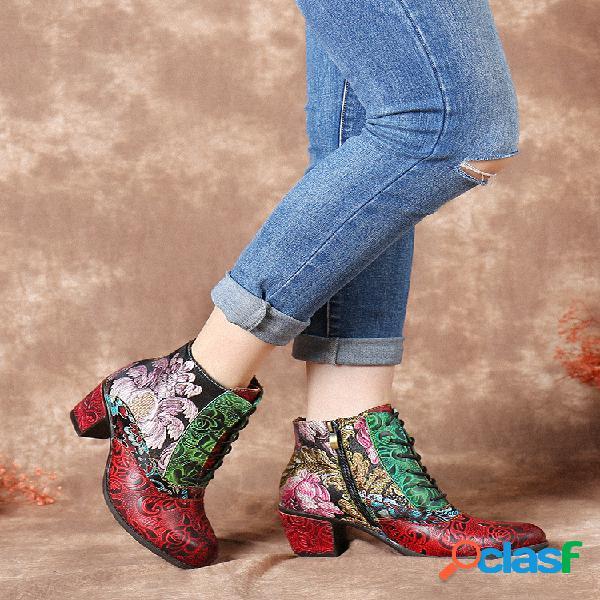 Socofy retro flor bordado empalme en relieve piel genuina cómodo corto de tacón grueso botas