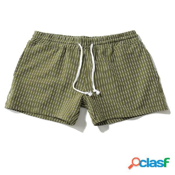 Hombres algodón transpirable a rayas absorbentes de humedad gym aptitud mini pantalones cortos deportivos sueltos