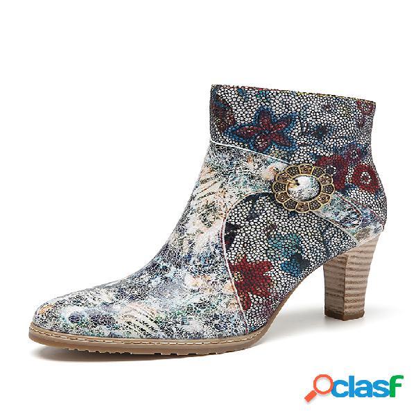Socofy tie-dye printed piel genuina flores tela empalme hebilla de metal decoración elegante tacón alto corto botas