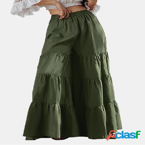 Color sólido de cintura alta de pierna ancha pantalones bohemia pant