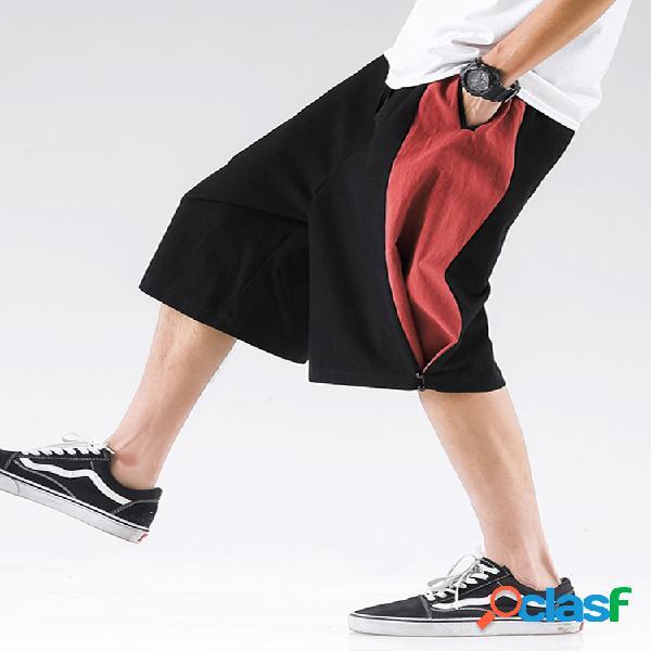 Pantalones cortos sueltos de cintura elástica con cordón elástico 100% algodón para hombre