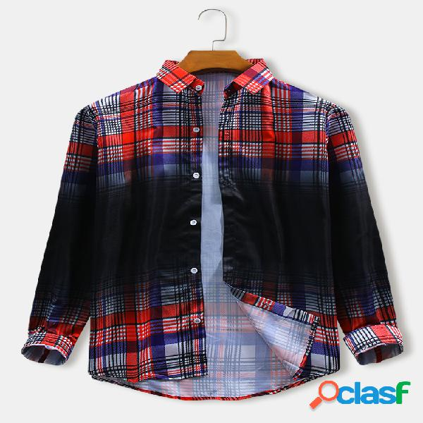 Hombres colorful plaid & black ombre print casual loose regular fit camisas