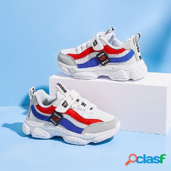 Hobibear unisex niños colores rayas transpirables soft sole casual chunky zapatillas