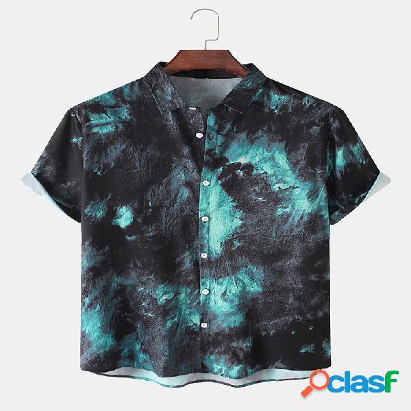 Camisas casuales de manga corta con cuello vuelto de algodón con estampado ombre para hombre