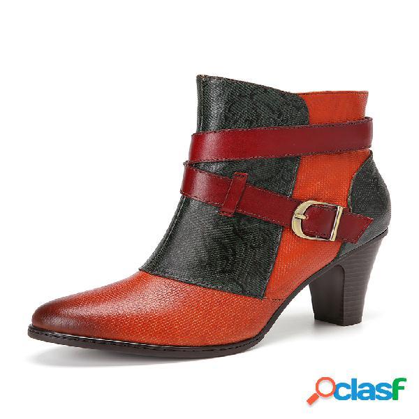 Socofy correa de hebilla decoración empalme en bloques de color piel genuina corto de tacón grueso con cremallera lateral botas