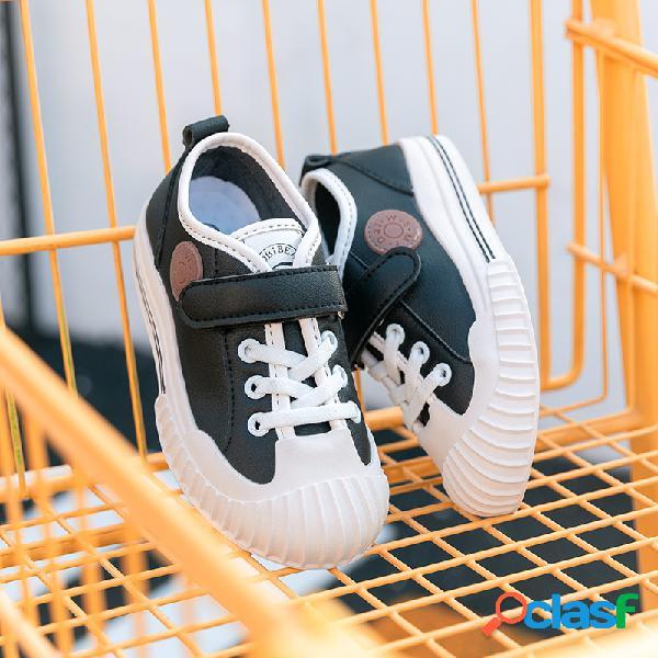 Hobibear zapatos de lona casuales con punta redonda de cuero de microfibra cómodos para niños
