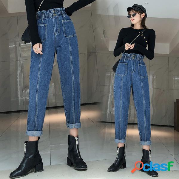 Mujeres de gran tamaño jeans nueva grasa mm de cintura alta casual suelta salvaje delgada pierna ancha pantalones pantalones