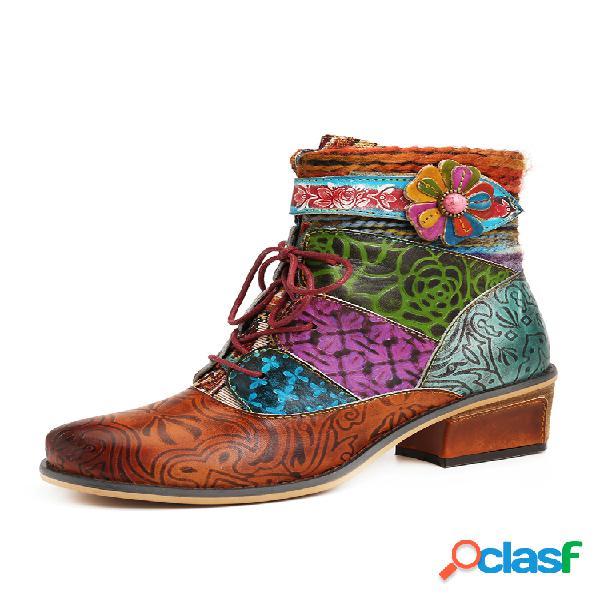 Socofy colorful piel genuina corto plano con cremallera y cordones de flores de empalme botas