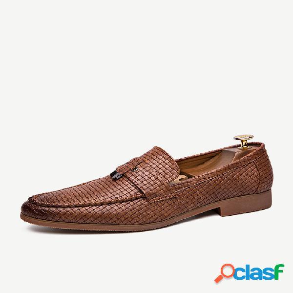 Hombre tejido de cuero de microfibra patrón zapatos formales casuales sin cordones