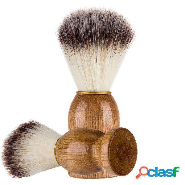 Cepillo de afeitar para hombres mane barber salon men barba de limpieza facial herramienta de mango de madera razor beauty brush