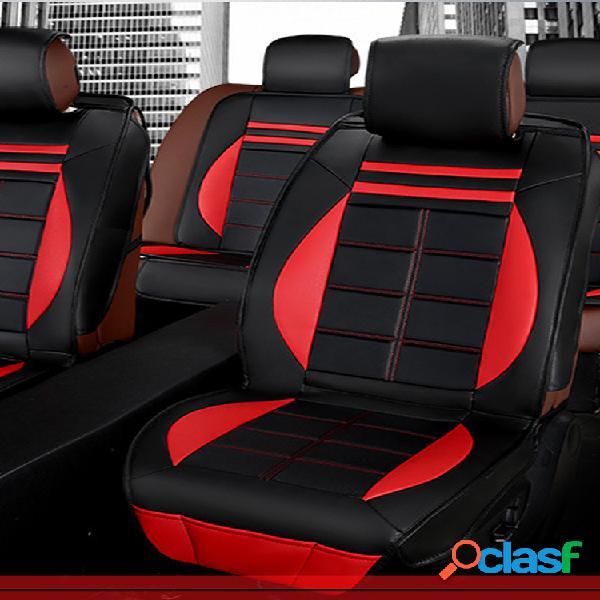 11 piezas de cuero negro y rojo deluxe edition coche kit de cojín de funda de asiento para universal 5 coche