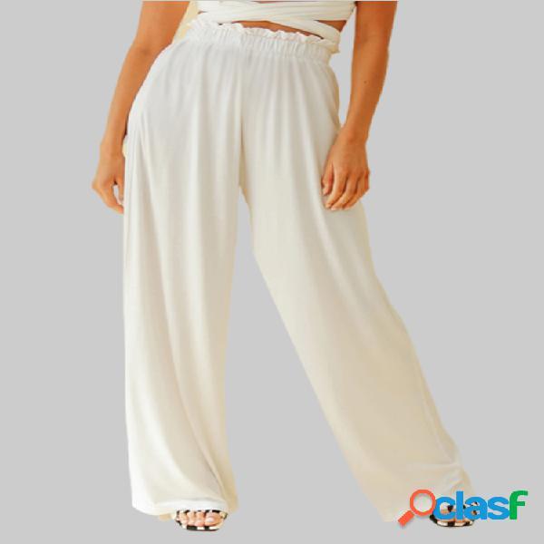Cintura alta suelta informal plus talla pierna ancha pantalones