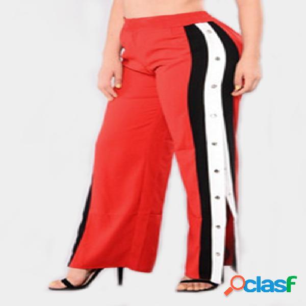 Pantalones deportivos de cintura alta con diseño de hendidura lateral y pierna ancha activa en naranja