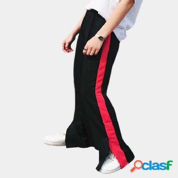 Pantalones deportivos de altura alta con pierna lateral activa en negro