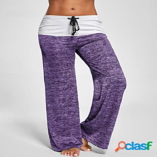 Pantalón de cintura alta de pierna ancha activa con diseño de costura en color púrpura